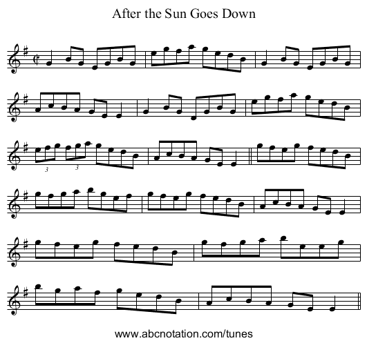 After the Sun Goes Down - staff notation