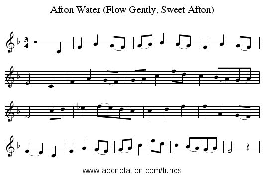 Afton Water (Flow Gently, Sweet Afton) - staff notation