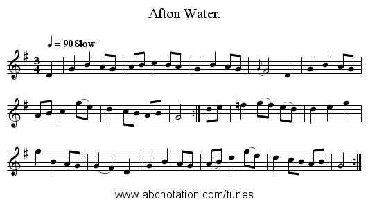 Afton Water. - staff notation