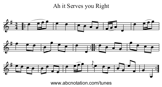 Ah it Serves you Right - staff notation