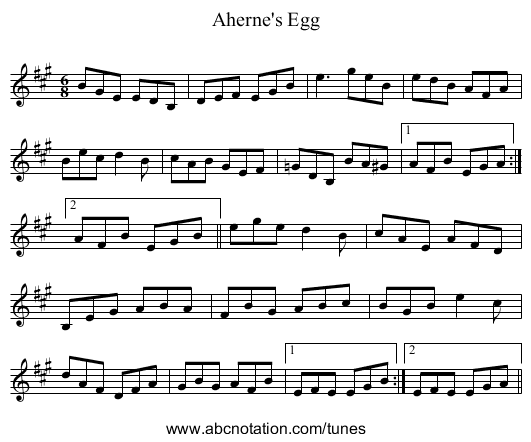 Aherne's Egg - staff notation