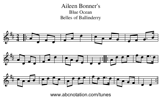 Aileen Bonner's - staff notation