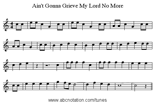 Ain't Gonna Grieve My Lord No More - staff notation