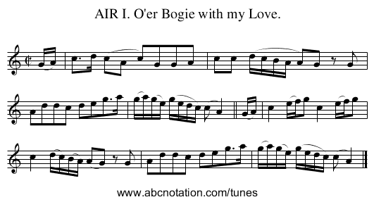 AIR I. O'er Bogie with my Love. - staff notation