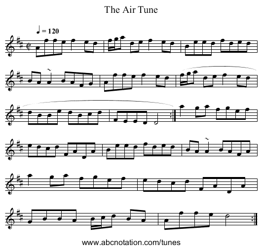 Air Tune, The - staff notation