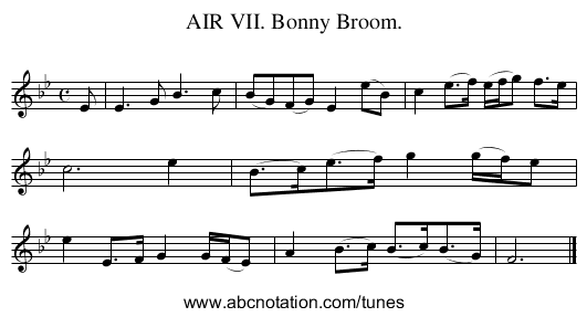 AIR VII. Bonny Broom. - staff notation