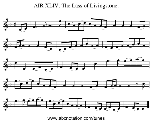 AIR XLIV. The Lass of Livingstone. - staff notation