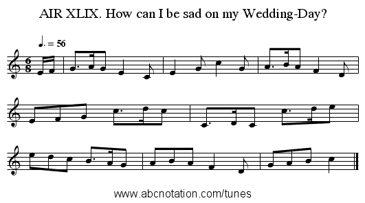 AIR XLIX. How can I be sad on my Wedding-Day? - staff notation