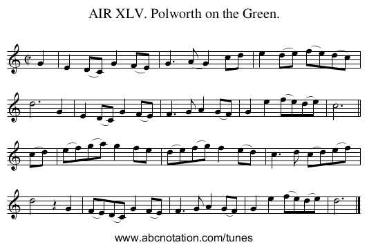 AIR XLV. Polworth on the Green. - staff notation