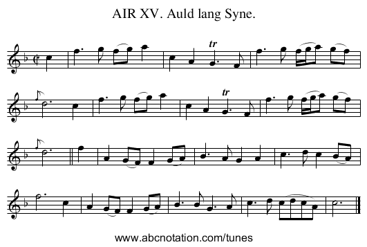 AIR XV. Auld lang Syne. - staff notation