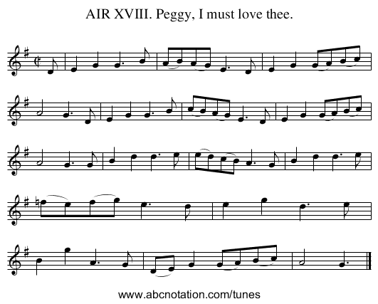 AIR XVIII. Peggy, I must love thee. - staff notation