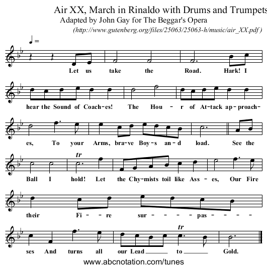 Air XX, March in Rinaldo with Drums and Trumpets - staff notation