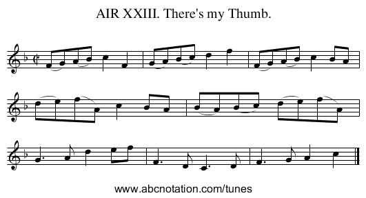 AIR XXIII. There's my Thumb. - staff notation