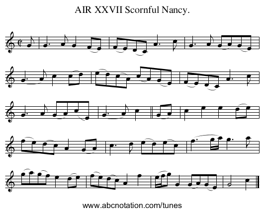 AIR XXVII Scornful Nancy. - staff notation