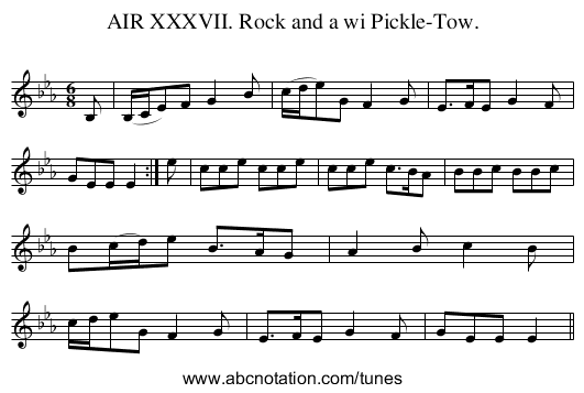 AIR XXXVII. Rock and a wi Pickle-Tow. - staff notation