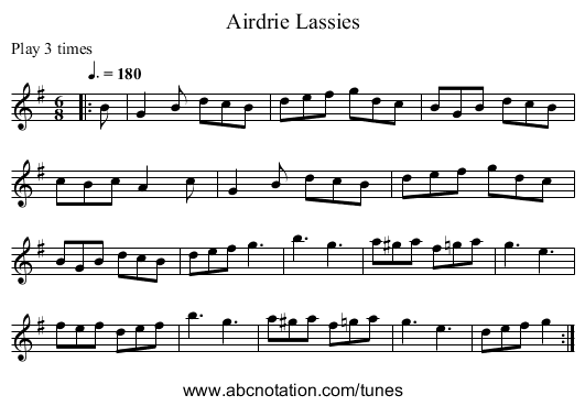 Airdrie Lassies - staff notation