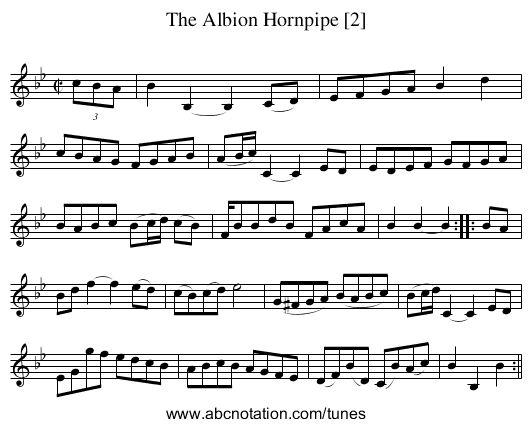 Albion Hornpipe [2], The - staff notation