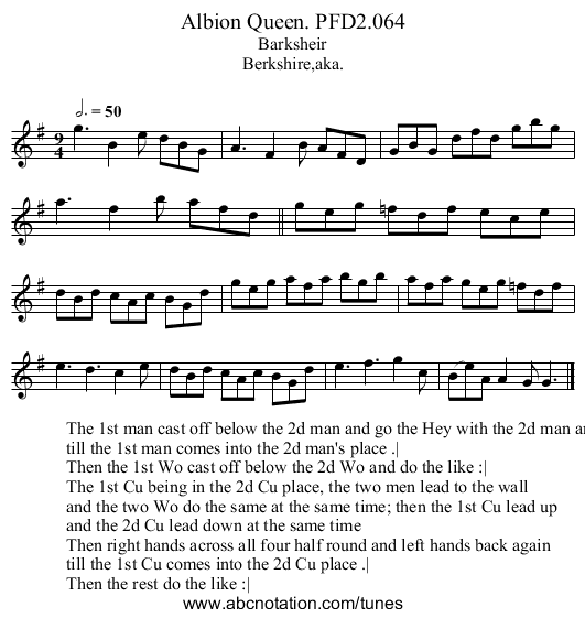 Albion Queen. PFD2.064 - staff notation