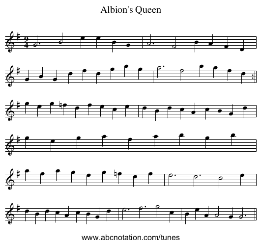 Albion's Queen - staff notation