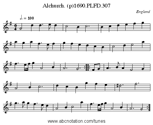 Alchurch. (p)1690.PLFD.307 - staff notation