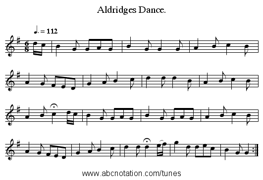 Aldridges Dance. - staff notation