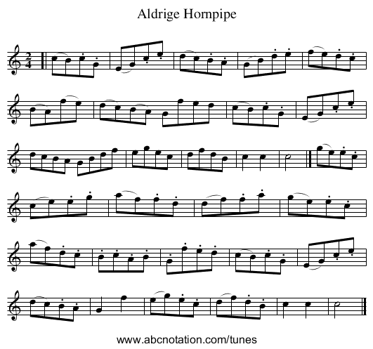 Aldrige Hornpipe - staff notation