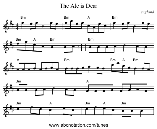 Ale is Dear, The - staff notation