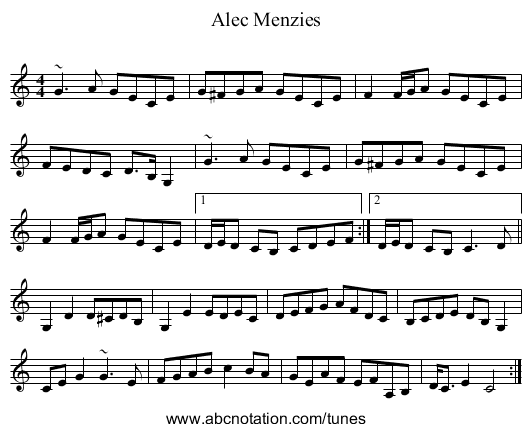 Alec Menzies - staff notation