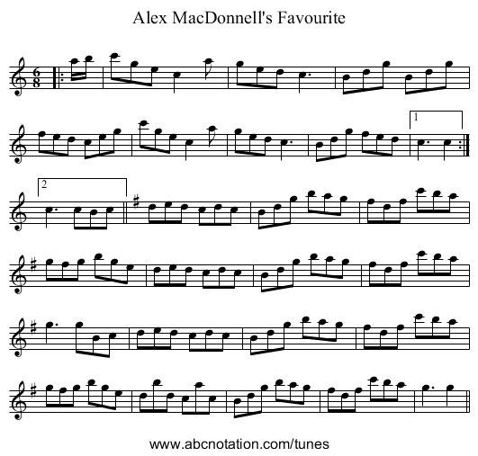 Alex MacDonnell's Favorite - staff notation