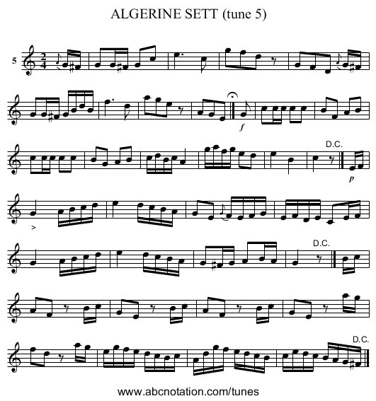 ALGERINE SETT (tune 5) - staff notation
