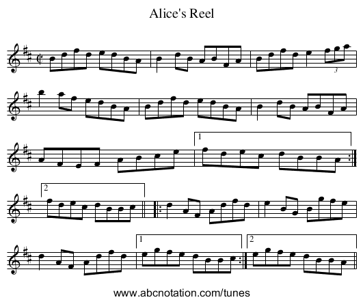 Alice's Reel - staff notation
