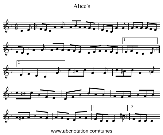 Alice's - staff notation
