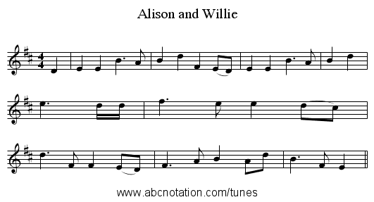 Alison and Willie - staff notation