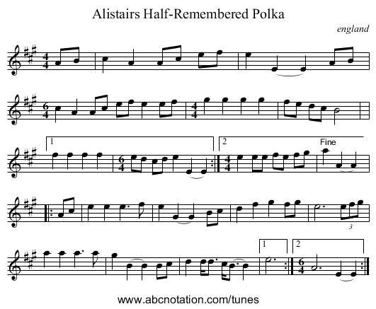 Alistairs Half-Remembered Polka - staff notation