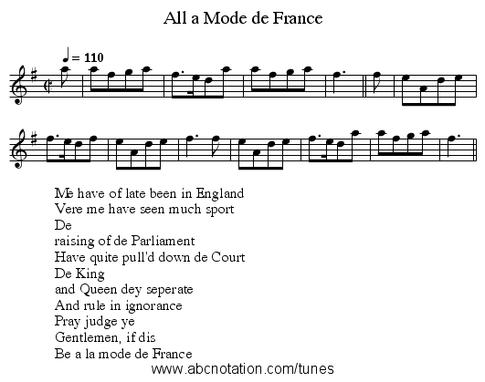 All a Mode de France - staff notation
