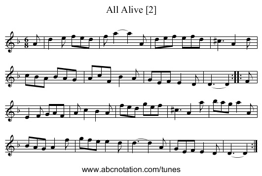 All Alive [2] - staff notation