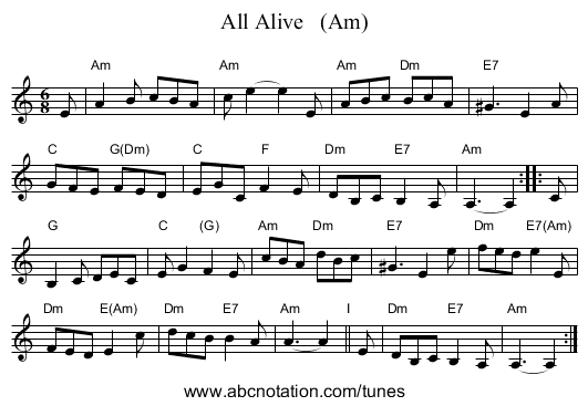 All Alive   (Am) - staff notation