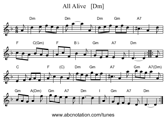 All Alive   [Dm] - staff notation