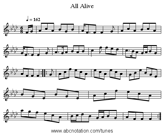 All Alive - staff notation