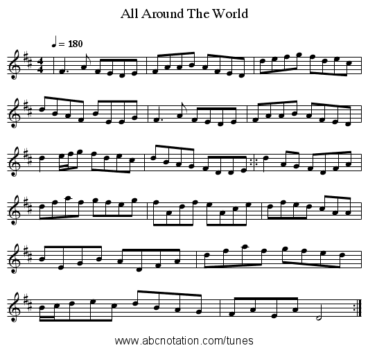 All Around The World - staff notation