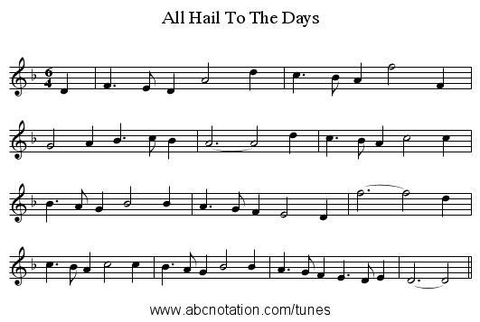 All Hail To The Days - staff notation