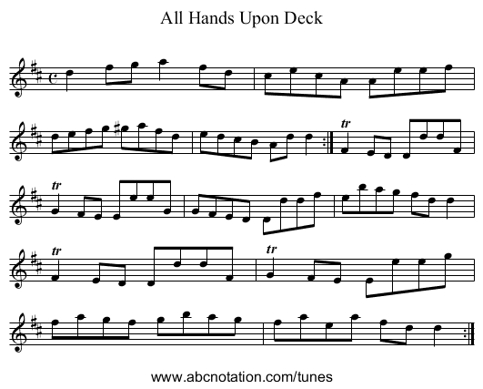 All Hands Upon Deck - staff notation