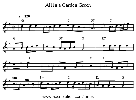 All in a Garden Green - staff notation