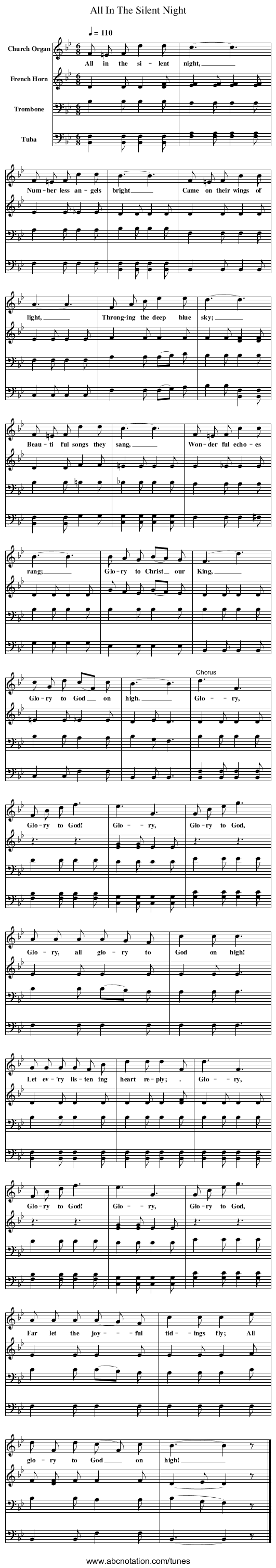 All In The Silent Night - staff notation