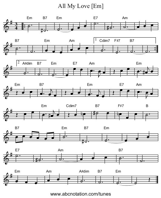 All My Love [Dm] - staff notation
