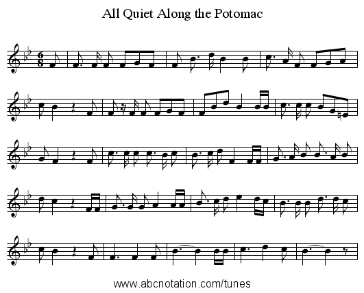 All Quiet Along the Potomac - staff notation