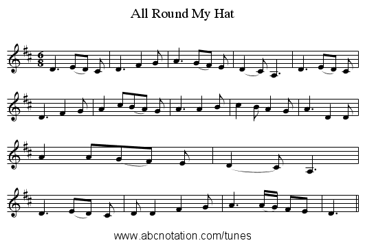 All Round My Hat - staff notation