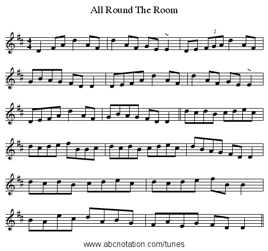 All Round The Room - staff notation