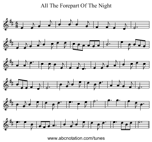 All The Forepart Of The Night - staff notation
