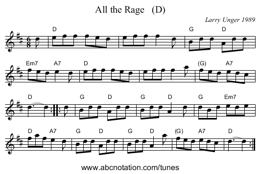 All the Rage   (D) - staff notation